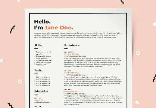 Resume Layout Kit with Orange Accents