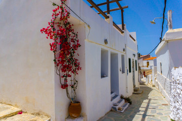 Street view in Driopis (Driopida), the traditional village of cycladic island Kythnos in Greece