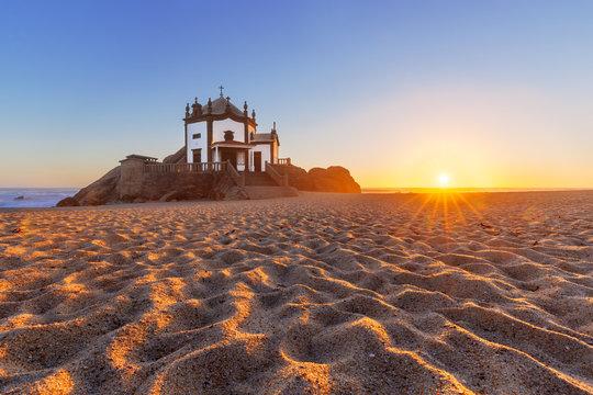 Sandy beach in Miramar, Porto, Portugal