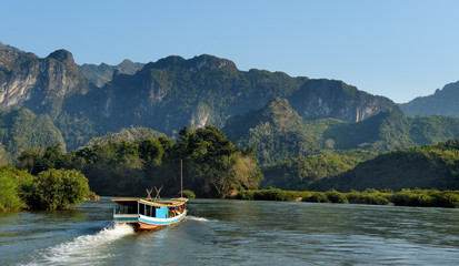 Tourist boat on Mekong.