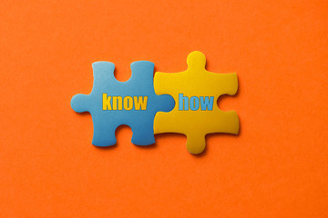 Wall Mural - Two colored details of puzzle with text Know How on orange background, Yellow and Blue, close up