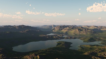 mountain lake, panorama of a mountain landscape 3D rendering