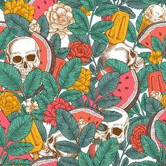 Summer florals seamless pattern. Hipster floral skull background. Vector illustration
