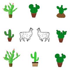 A set of icons of cacti and llama