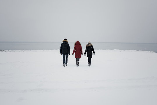 Rear view of friends walking on snow covered beach against sky