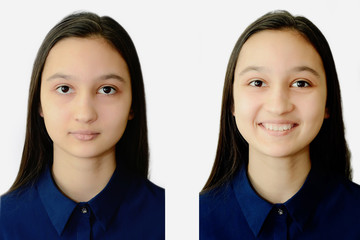 Photo of a teenage girl face on a white background on documents. Collage for comparison.