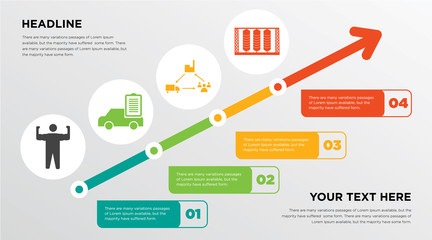 arm flex, vehicle inspection, supply chain management, silo growing horizontal presentation design template in green, red and yellow, grow up business infographics with icons