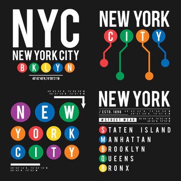 T-shirt design in the concept of New York City subway. Cool typography with boroughs of New York for shirt print. Set of t-shirt graphic in urban and street style