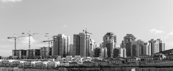 Banner Panoramic view of New Neighborhood - Concept of Modern Residential Buildings