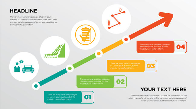 car dealer, waterfall, specification, tracker growing horizontal presentation design template in green, red and yellow, grow up business infographics with icons