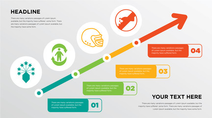 lucky draw, good health, football helmet, no water growing horizontal presentation design template in green, red and yellow, grow up business infographics with icons