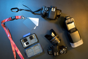 photographic equipment on a table