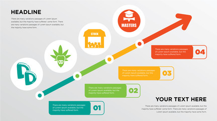 double d, rastaman, free stock,, masters degree growing horizontal presentation design template in green, red and yellow, grow up business infographics with icons