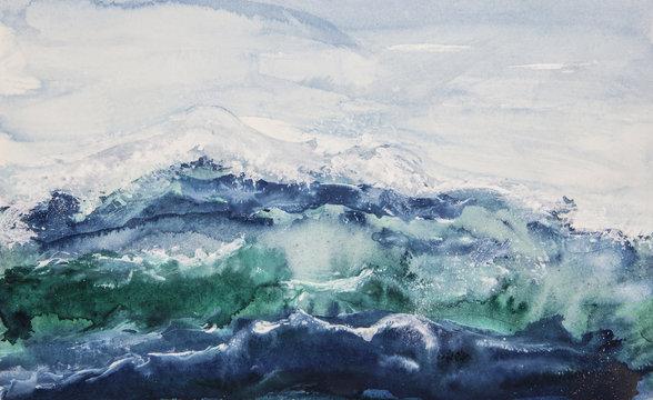 Ocean waves watercolor