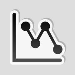 Declining graph line icon. Sticker style with white border and simple shadow on gray background