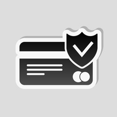credit card protection icon. Sticker style with white border and simple shadow on gray background