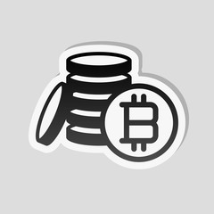 money bitcoin. simple silhouette. Sticker style with white border and simple shadow on gray background