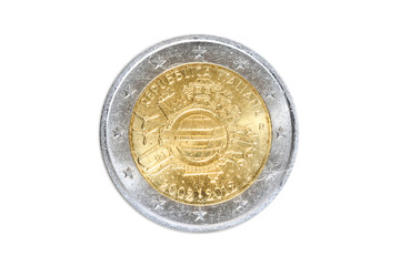 Italian two-euro commemorative coins close-up with European symbol of United Europe.10th Anniversary of the Introduction of the Euro in 2012. Isolated on white studio background. Head side.