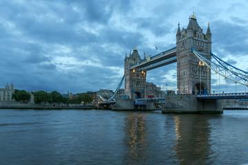 Night photo of Tower Bridge in London, England, Great Britain
