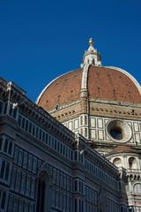 Sunset illuminates the cathedral dome, Basilica di Santa Maria del Fiori, Florence, Italy