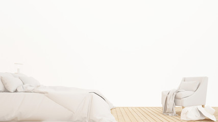 White bedroom and living area apartment or home - Bedroom on white background interior design for artwork - 3D Rendering