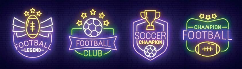 Big set neon sing. Soccer label and logo. American football banner, logo, emblem and label. Bright signboard, light banner. Vector illustration