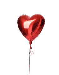 Single big  red heart balloon object for birthday isolated