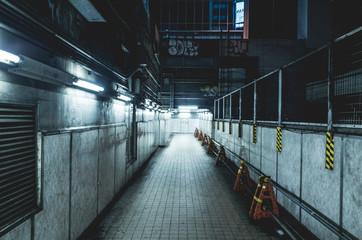 怪しい雰囲気漂う夜の地下通路。サーバーパンク風