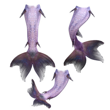 Set of purple mermaid tails isolated on white, 3d render