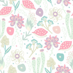 Floral seamless pattern. Hand drawn creative flowers. Colorful artistic background with blossom. Abstract herb. It can be used for wallpaper, textiles, wrapping, card. Vector illustration, eps10