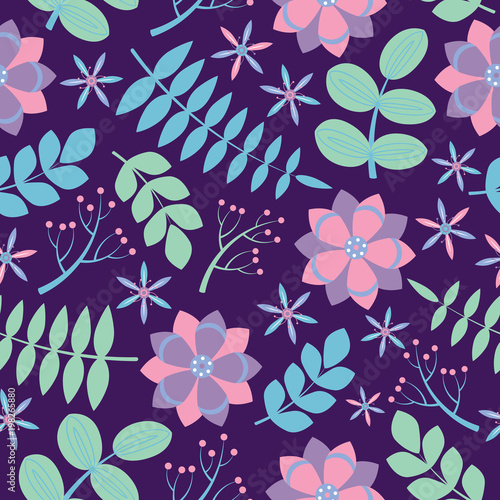 Pink And Purple Flowers With Blue Leaves Seamless Pattern On Dark Background Vector Design For