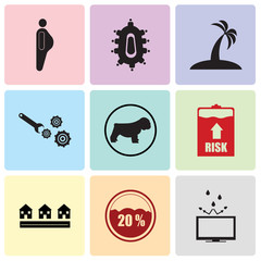 Set Of 9 simple editable icons such as resistant, neighborhood, high risk, bulldog, implement, palm tree flat, meeting room, obesity, can be used for mobile, web UI