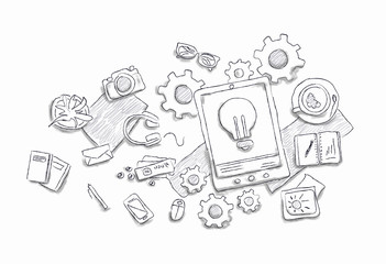 Drawn image of work table with objects
