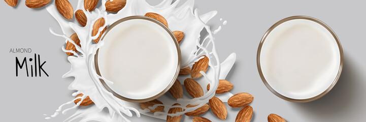 Almond milk design element