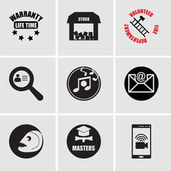 Set Of 9 simple editable icons such as video chat, masters degree, piranha, email, music, identify, volunteer fire department, free stock,, lifetime warranty, can be used for mobile, web UI
