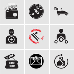 Set Of 9 simple editable icons such as best friends, email, black friday, professional skills, volunteer fire department, pathology, kart, music, photo gallery, can be used for mobile, web UI
