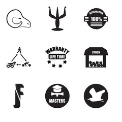 Set Of 9 simple editable icons such as heron, masters degree, free stock,, lifetime warranty, swim bike run, 100% satisfaction, psi, rams, can be used for mobile, web UI