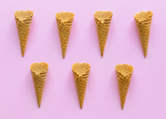 Aerial view of ice cream waffle cones