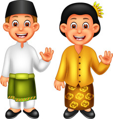funny boy and girl cartoon standing  using malaysian costume with smile