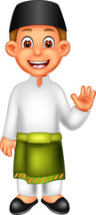 funny malaysian men cartoon standing with smile and waving