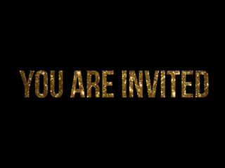 Golden glitter vector isolated word YOU ARE INVITED