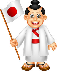 funny japanese boy cartoon standing with laughing and bring flag