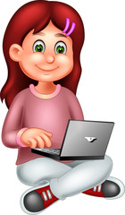 funny girl cartoon sitting with play pc