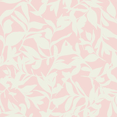 Background seamless pattern of tossed leaves on pink