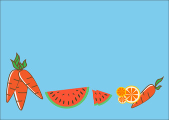 Carrot, watermelon and orange on blue background.