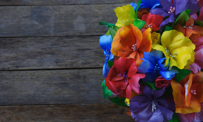 bright bouquet of flowers made of fabric and paper, rich colors
