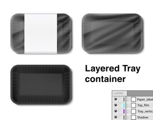 Set of horizontal tray container. Vector illustration isolated on white background. Layered template file easy to use for your design, promo, adv. EPS10