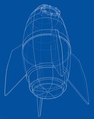 Rocket sketch. Vector rendering of 3d