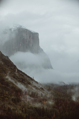 Scenic view of mountain in fog