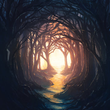 Dark forest leading to light